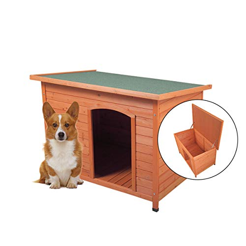 COZIWOW Outdoor Deluxe Slant-Roofed Wood Dog Pet House Shelter Kennel with Open Entrance,L//M//S,Orange//Red/&White